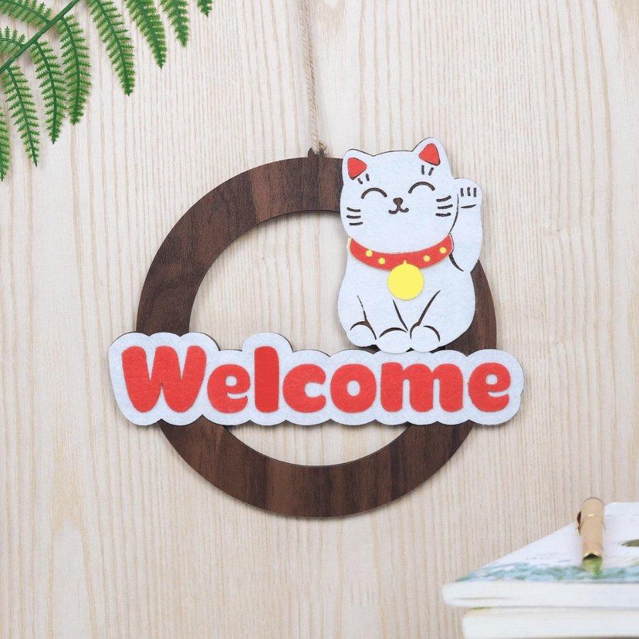 Bảng gỗ treo tường trang trí nhà Mèo Welcome