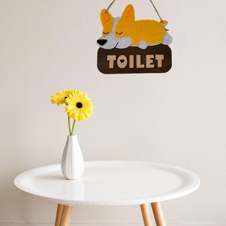 Bảng gỗ treo tường handmade Cún Corgi Toilet