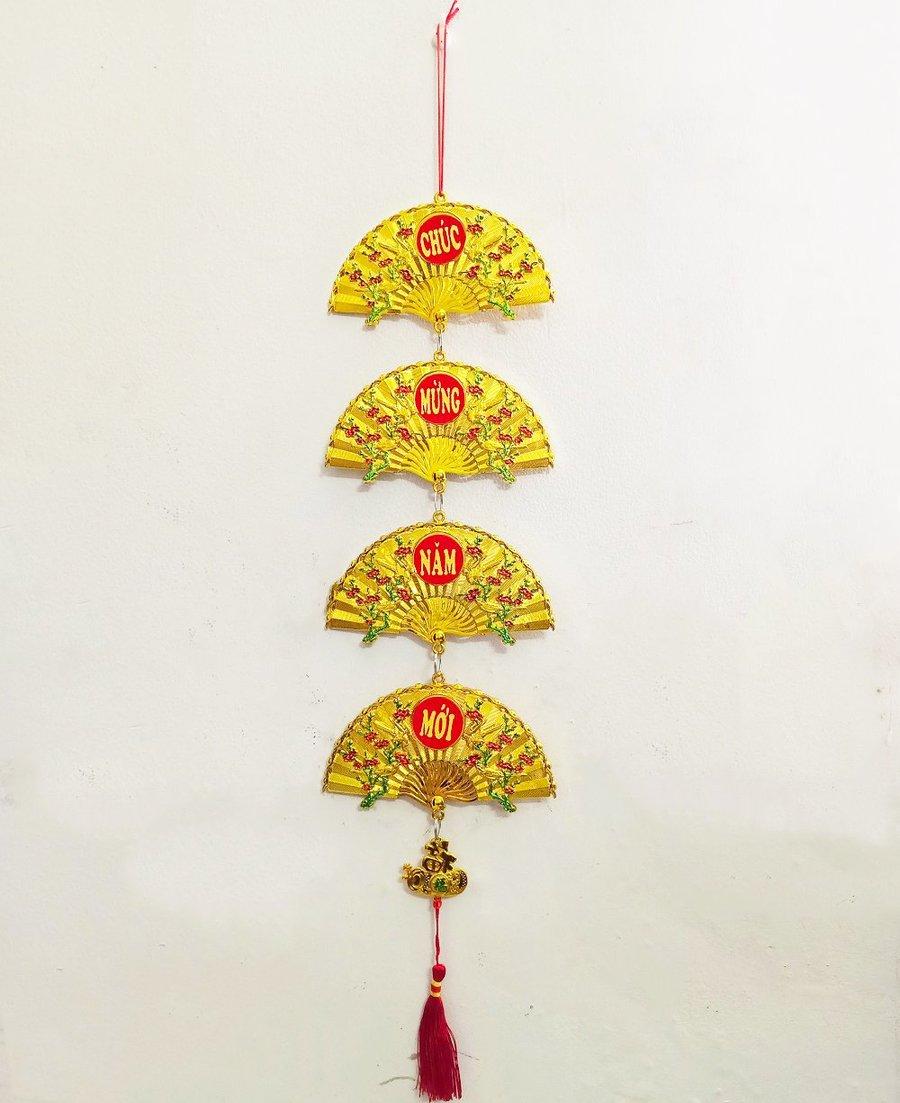 Dây liễn quạt vàng trang trí tết Chúc mừng năm mới
