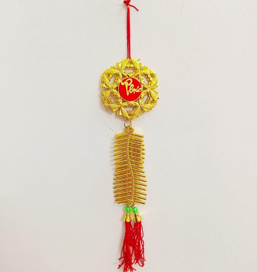 Lộc treo Cá chép chữ phúc và dây pháo vàng