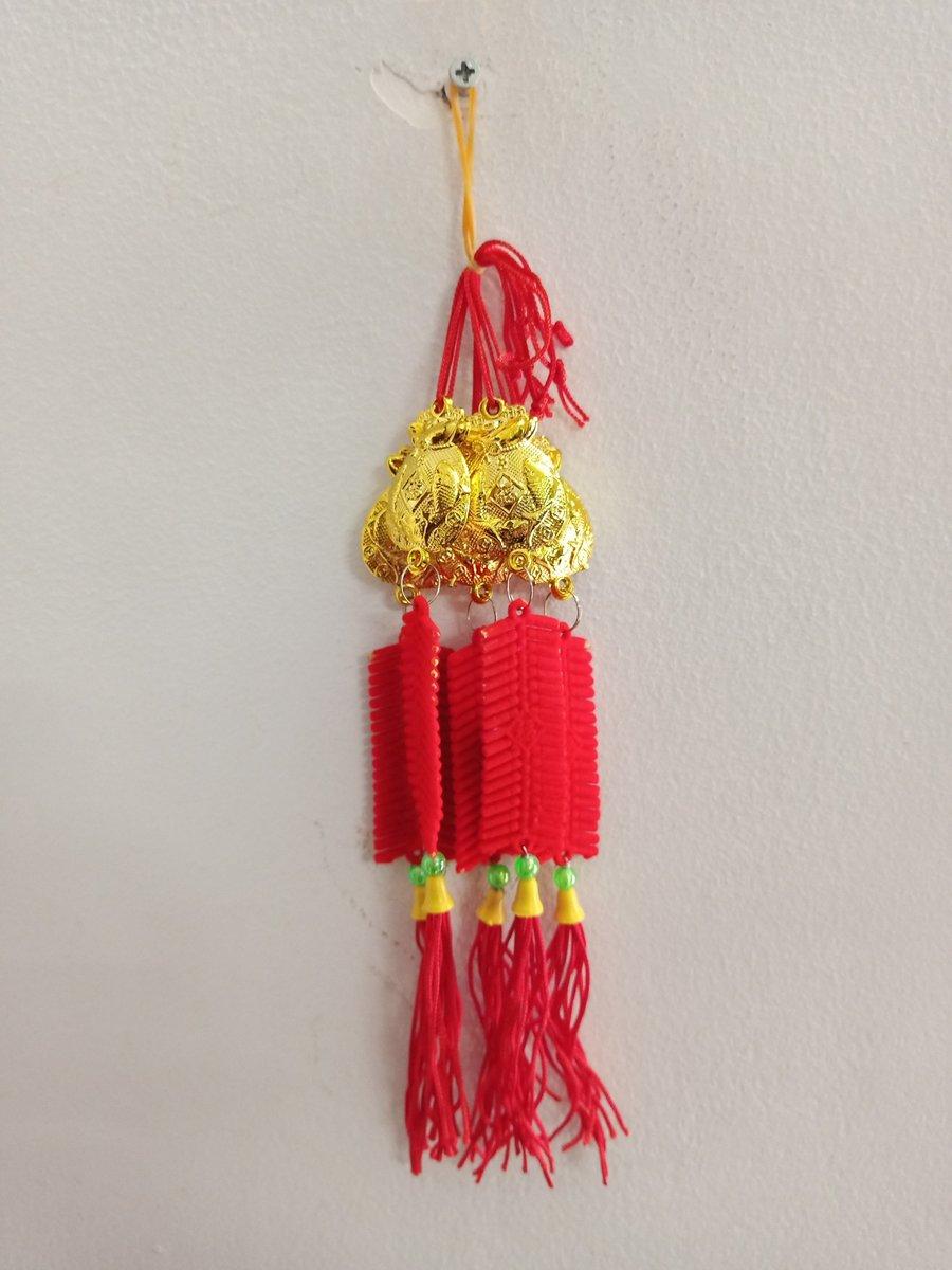Lộc treo trang trí tết Túi vàng cá chép pháo nhung đỏ