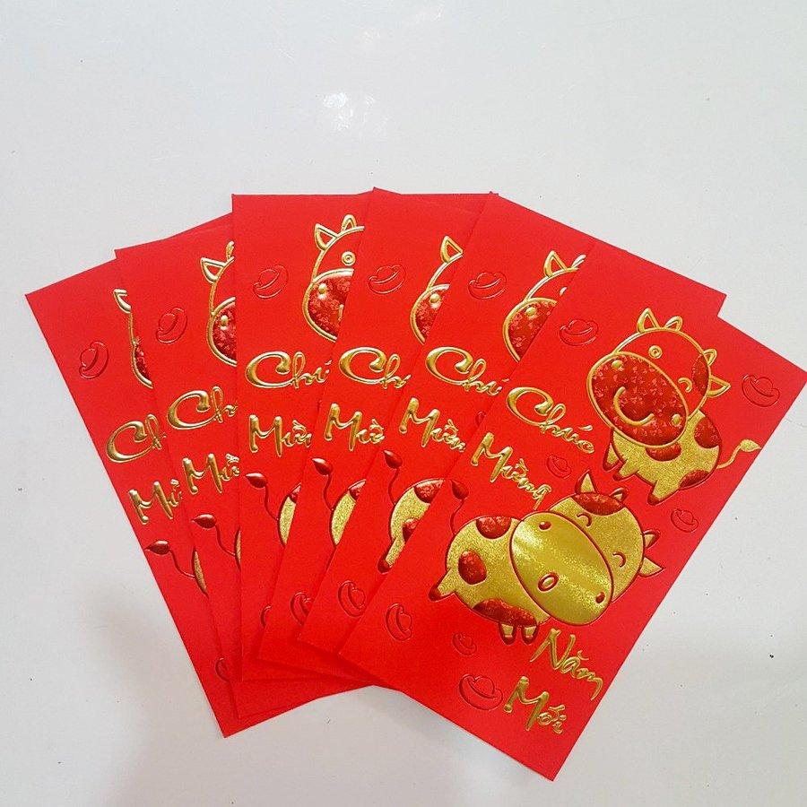 Bao lì xì giấy nhung cao cấp trâu vàng chúc mừng năm mới