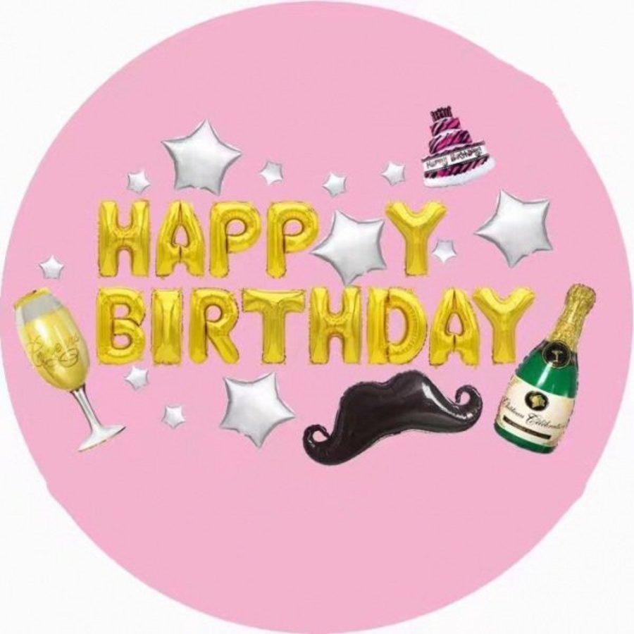 Set bong bóng trang trí sinh nhật HappyBirthday Champagne 01