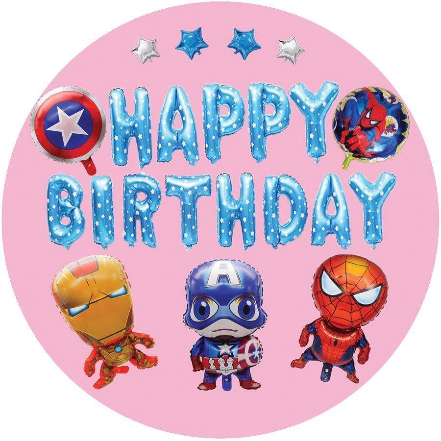 Set Bóng Trang Trí Sinh Nhật Happy Birthday Captain America Và Đồng Bọn