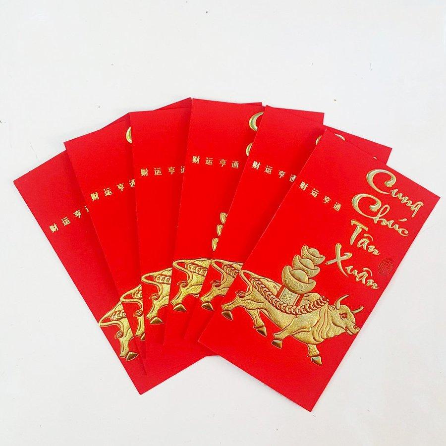 Bao lì xì giấy nhung cao cấp trâu vàng đồng tiền cung chúc tân xuân