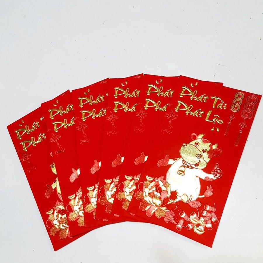 Bao lì xì giấy nhung cao cấp trâu vàng pháo đỏ phát tài phát lộc