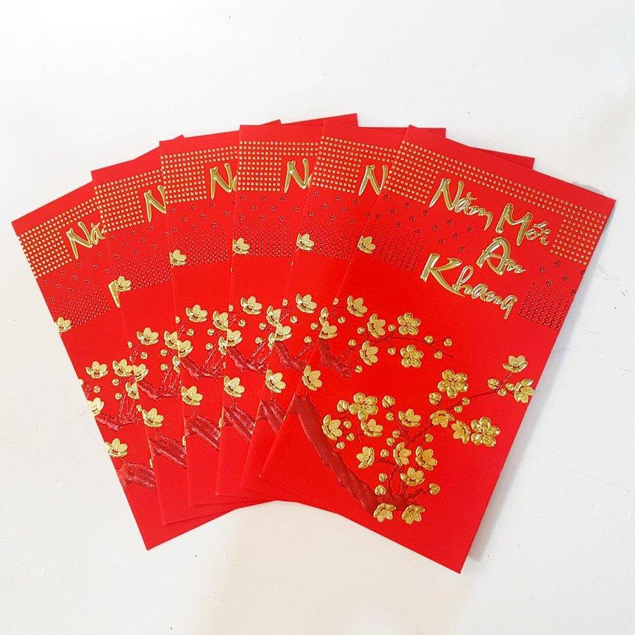 Bao lì xì giấy nhung cao cấp mai vàng năm mới an khang