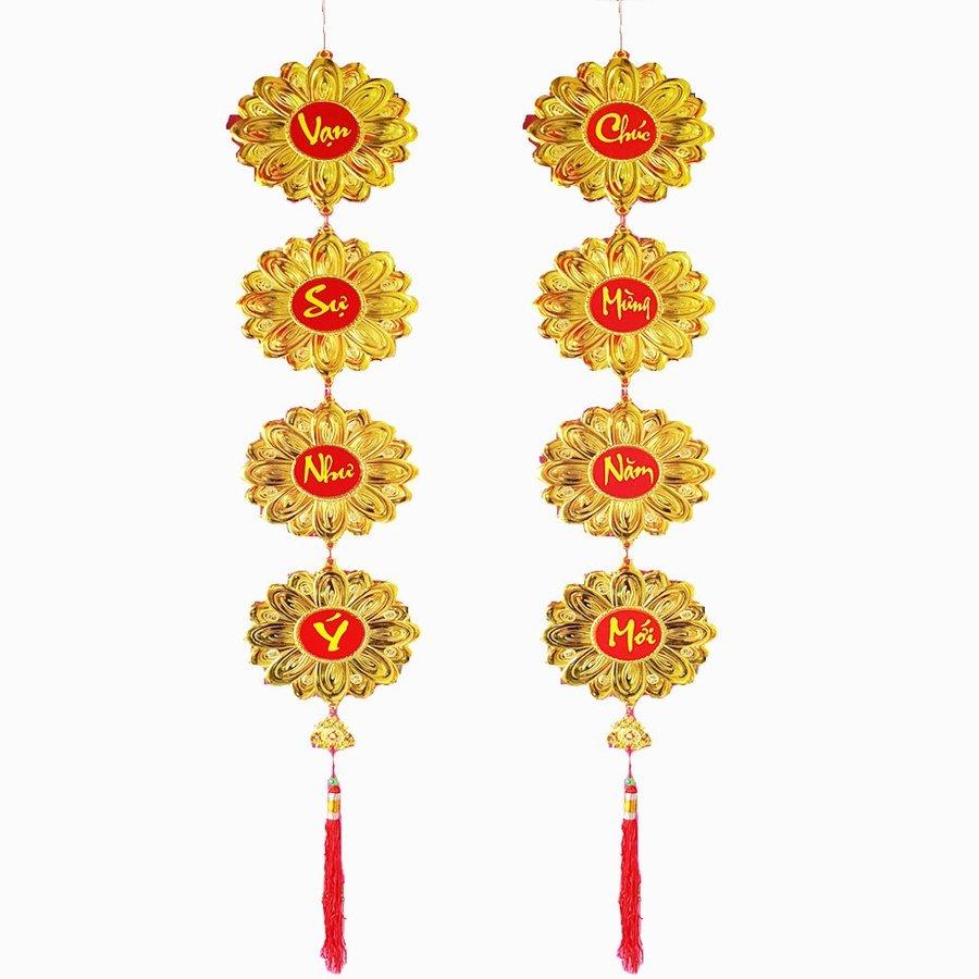 Lộc Treo Trang Trí Tết Hoa cúc vàng Chúc Mừng Năm Mới-Vạn Sự Như Ý