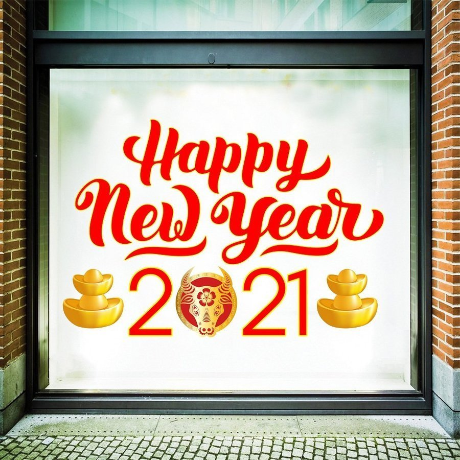 Decal Happy New Year 2021 size to 1,2m