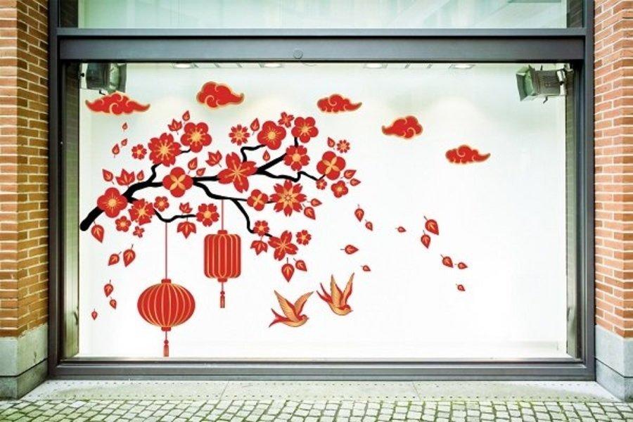 Decal Trang Trí Tết Hoa Đào Đỏ Đón Tết Cách Điệu size 100x150