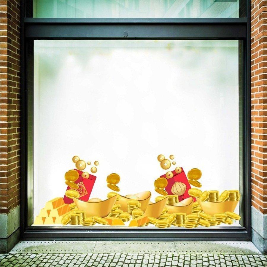 Decal trang trí tết chân tường tiền vàng 80x120cm