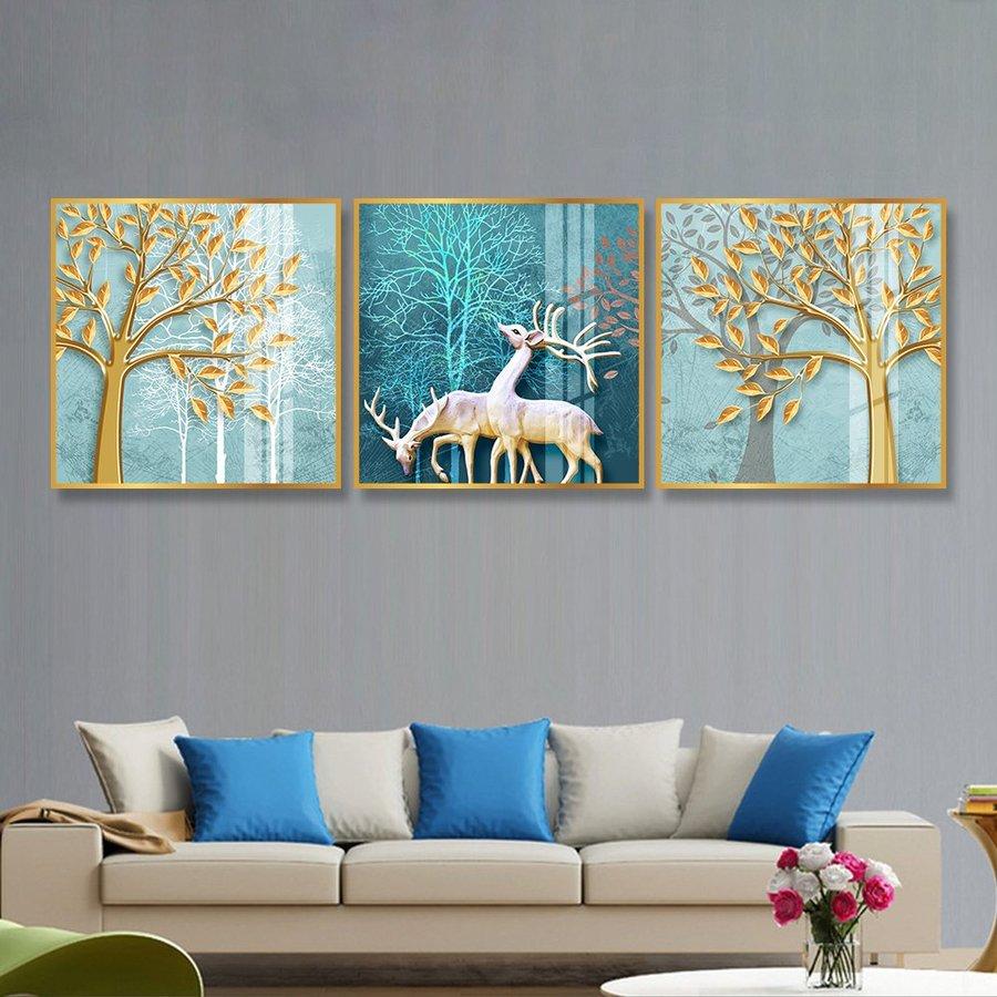 Tranh treo tường cặp hươu giữa rừng vàng