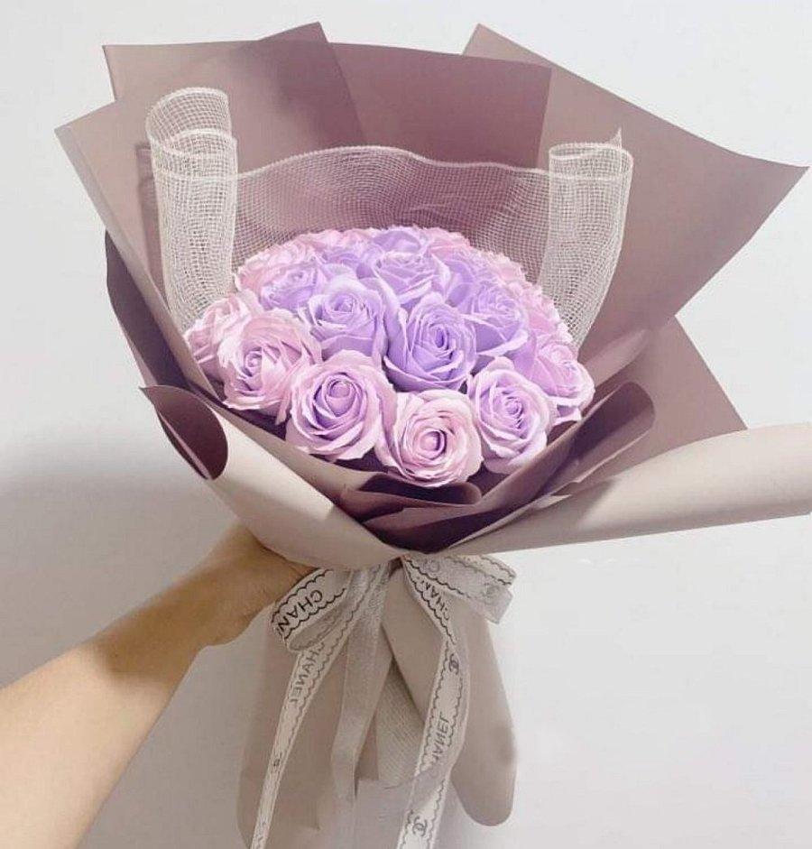 Bó hoa hồng sáp thơm tím hồng
