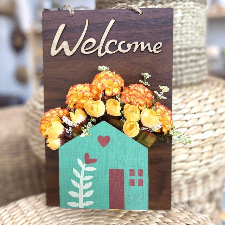 Bảng gỗ handmade trang trí nhà Welcome kèm hoa mẫu 3