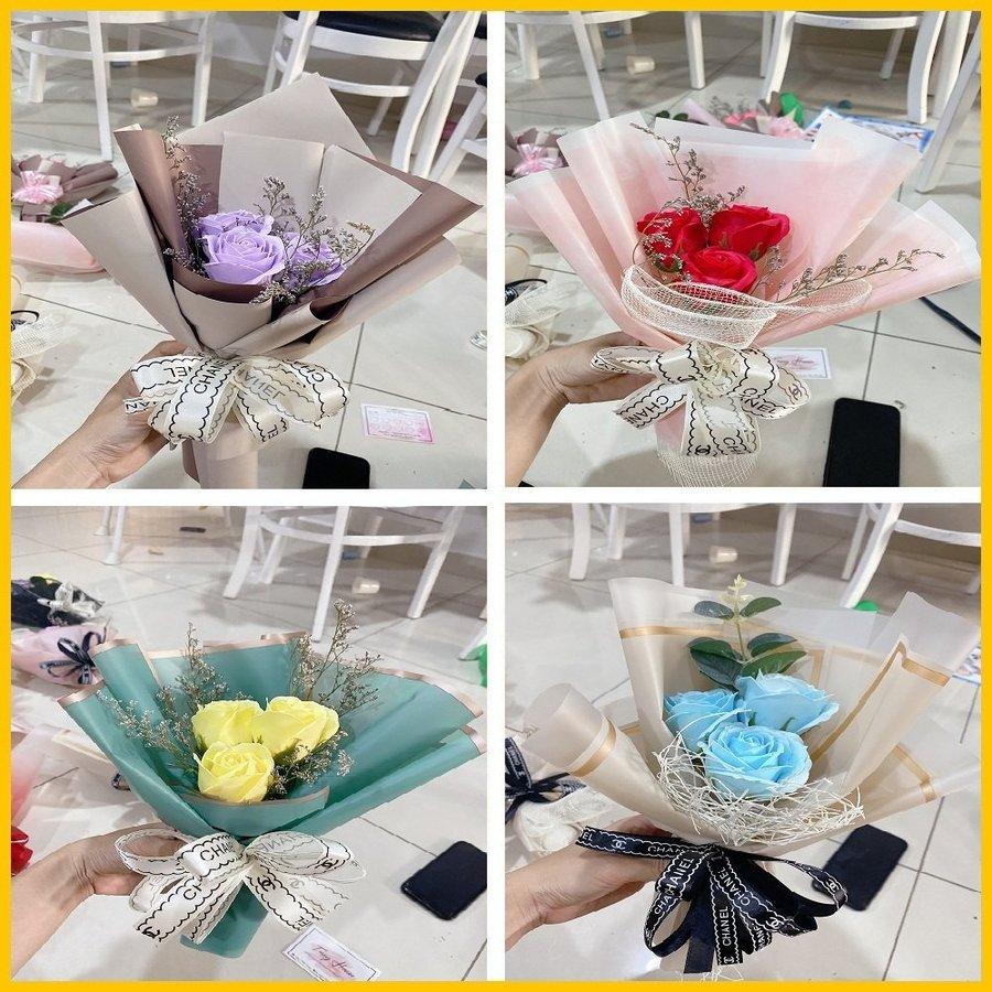 Bó 3 hoa hồng sáp thơm (nhiều mẫu) - Tặng kèm thiệp