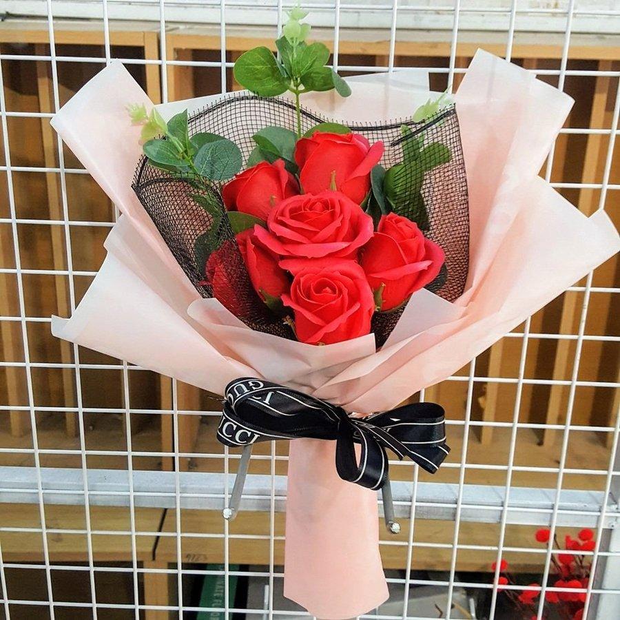 Bó hoa hồng sáp thơm Đỏ Tặng kèm thiệp - H039