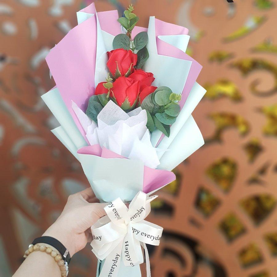 Bó Hoa Hồng Sáp Thơm Đỏ 5 bông - H050 - Tặng Kèm Thiệp