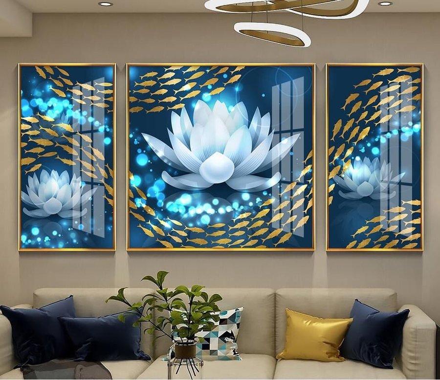 Tranh cá chép hoa sen bạch liên tỏa sáng