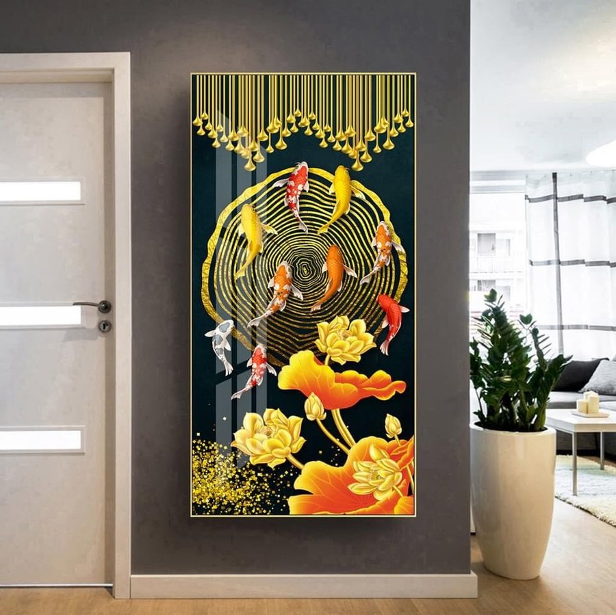 Tranh treo tường nghệ thuật cá chép và hoa sen 2