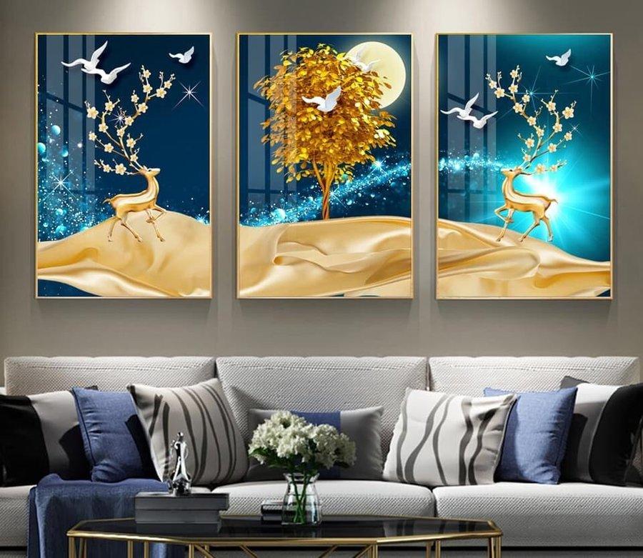 Tranh treo tường nghệ thuật đôi hươu vàng