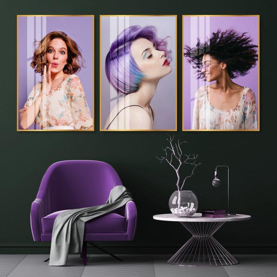 Bộ Tranh Treo Tường 3 Tấm Lady Hair - H522