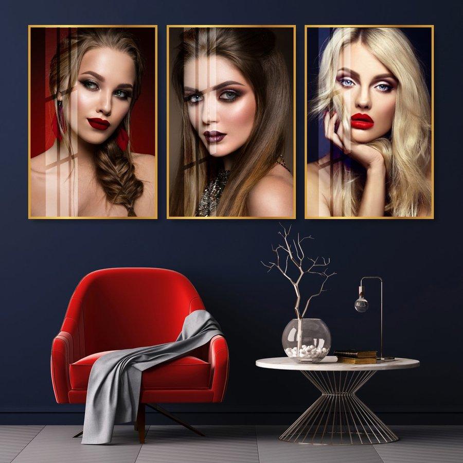 Bộ Tranh Treo Tường 3 Tấm Lady Hair - H527