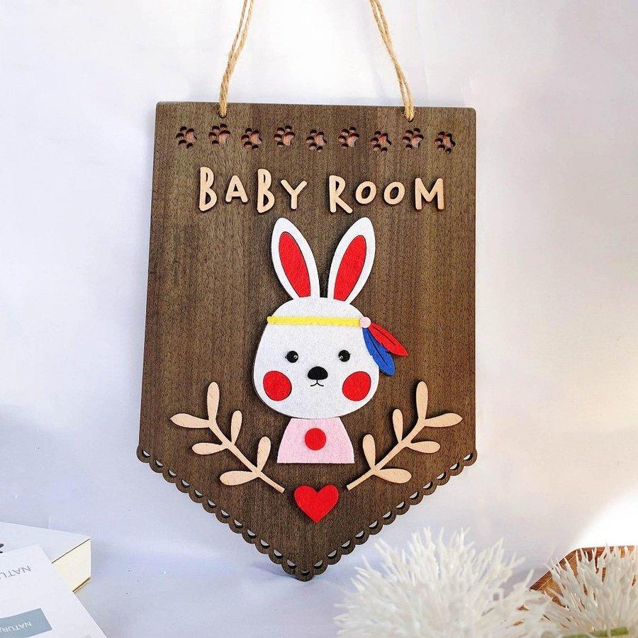 Bảng gỗ handmade trang trí nhà Bé thỏ baby room