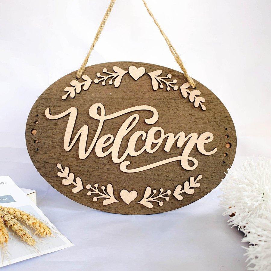 Bảng gỗ handmade trang trí nhà Welcome mẫu 9