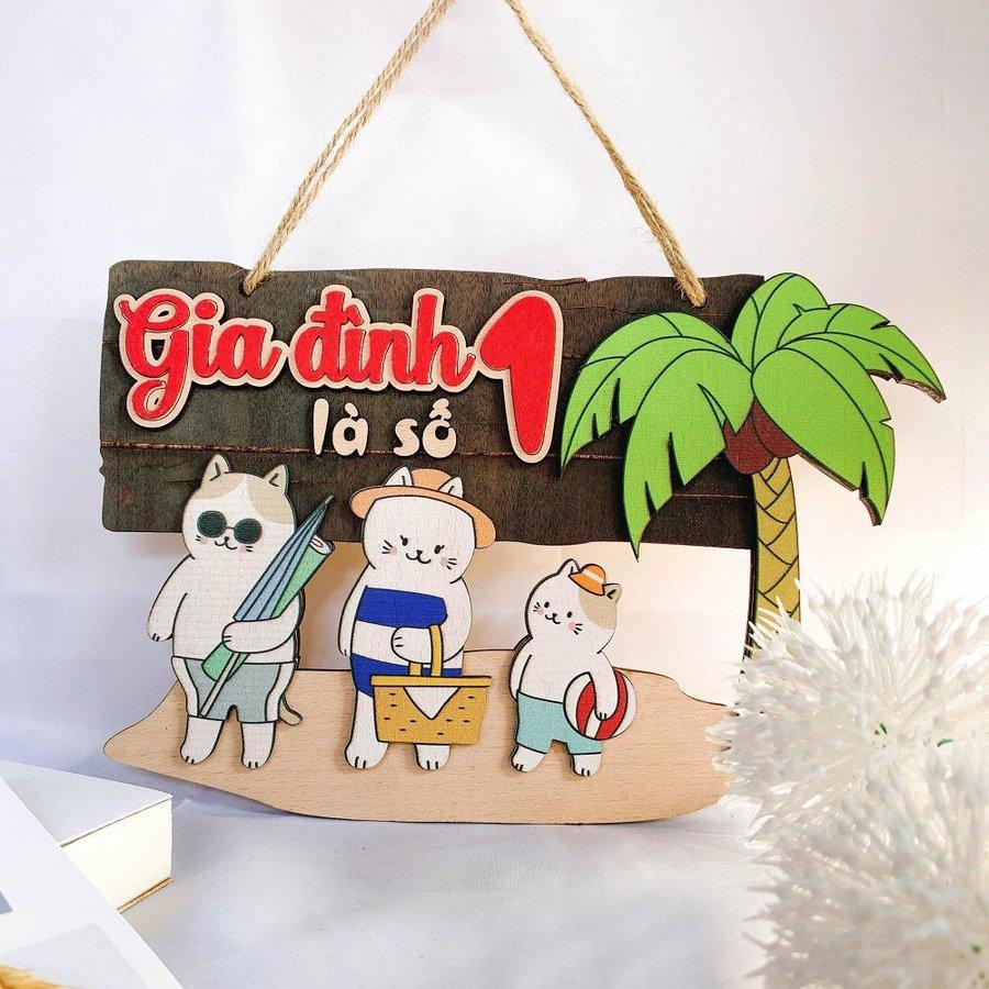 Bảng gỗ treo handmade trang trí Gia đình là số 1