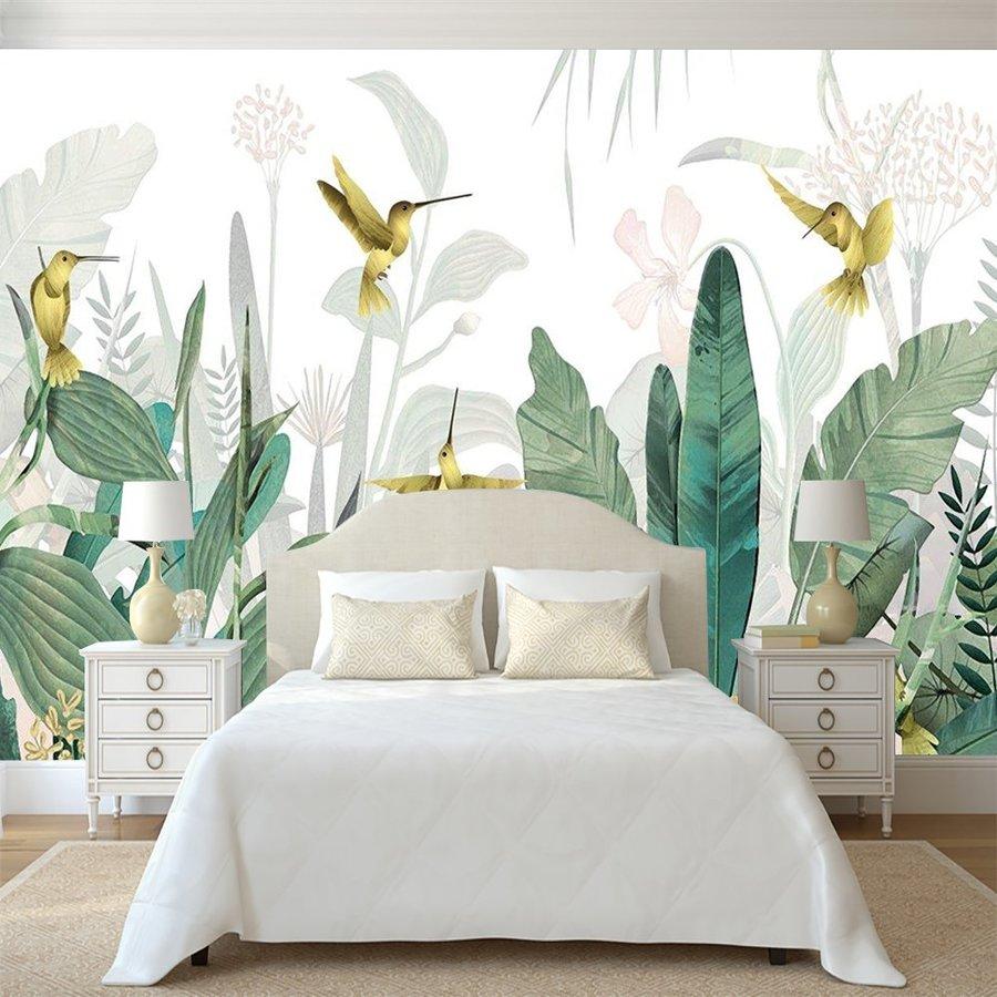 Tranh dán tường tường chim ruồi vàng và lá xanh