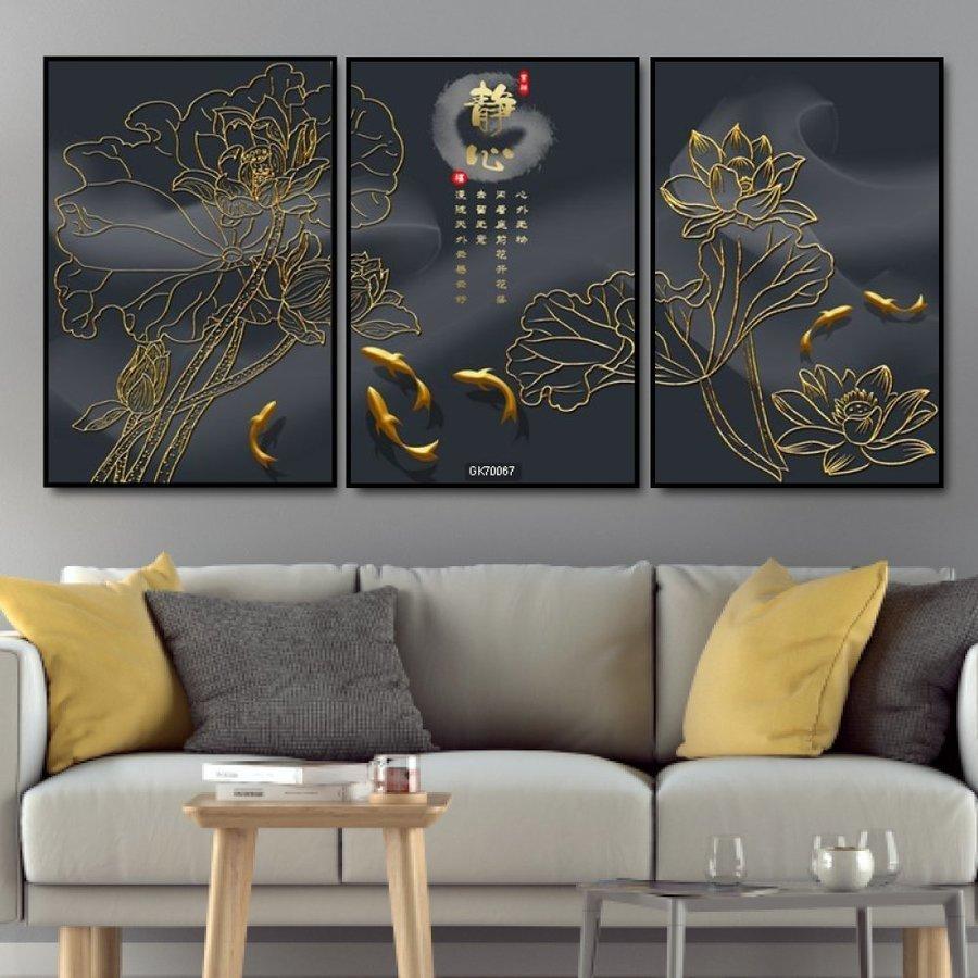 Tranh Treo Tường Sen Và Cá Chép Vàng 3D (S)