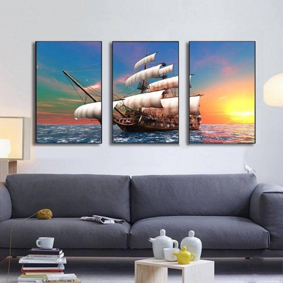 Tranh treo tường thuận buồm xuôi gió 16 kích thước 3 tấm 20x30cm (S)
