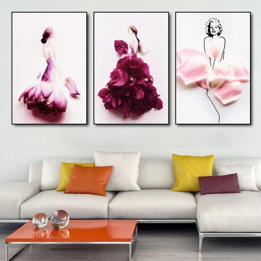 Tranh nghệ thuật trừu tượng cô gái váy hoa 2 (S)