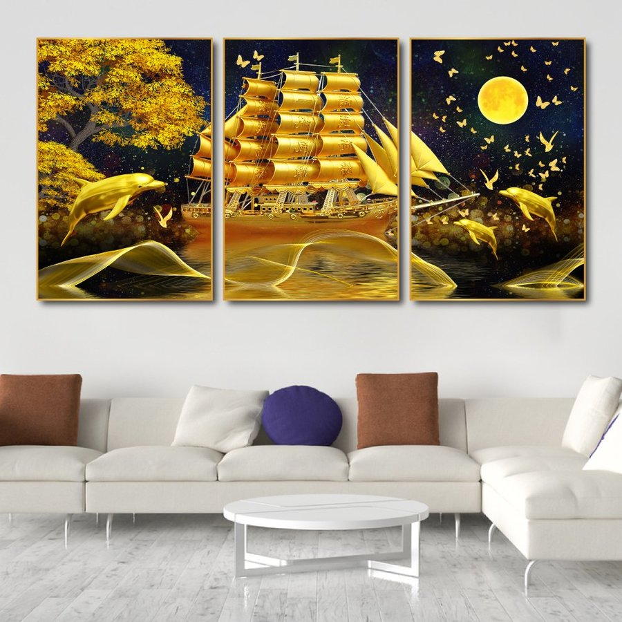 Tranh treo tường thuyền vàng giữa biển đêm