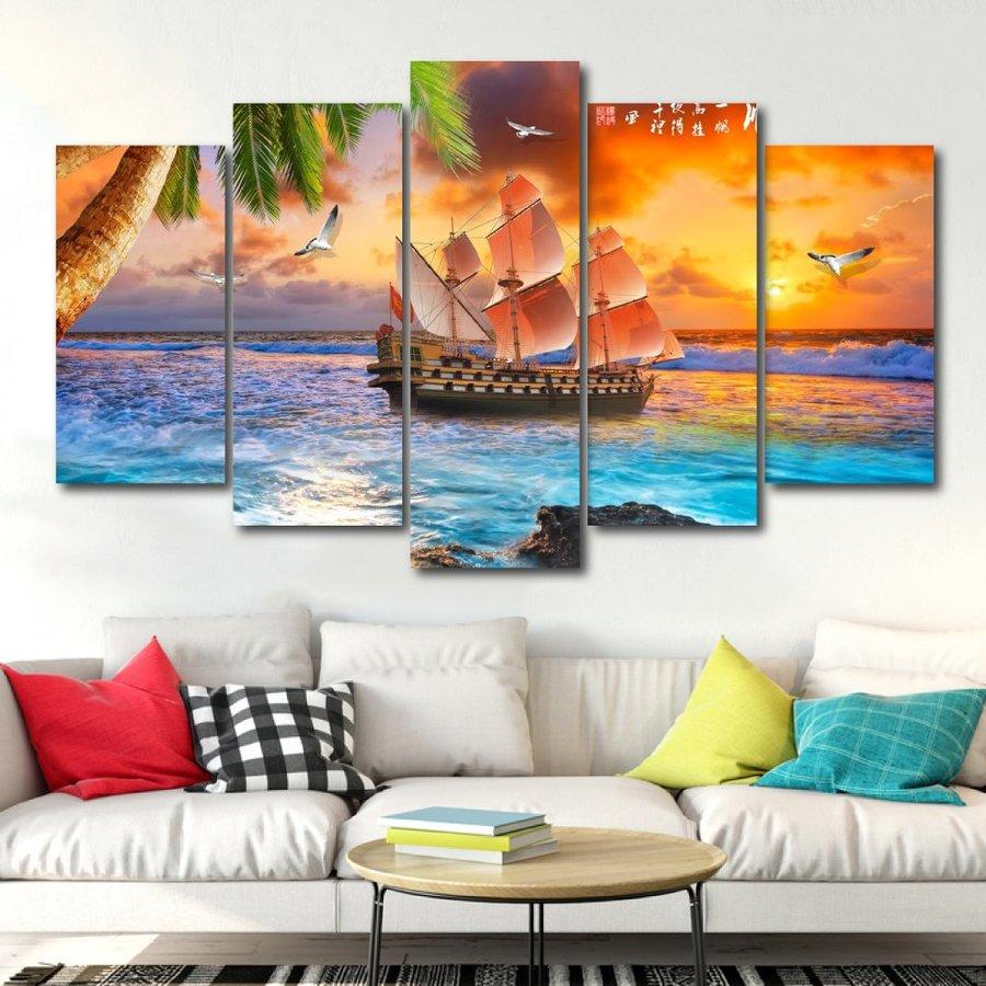 Tranh Treo Tường Thuyền Buồm Và Hoàng Hôn Trên Biển