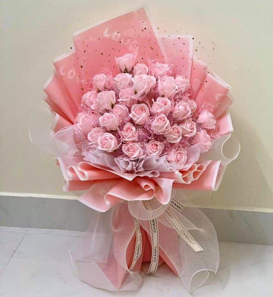 Bó hoa hồng sáp thơm sắc hồng