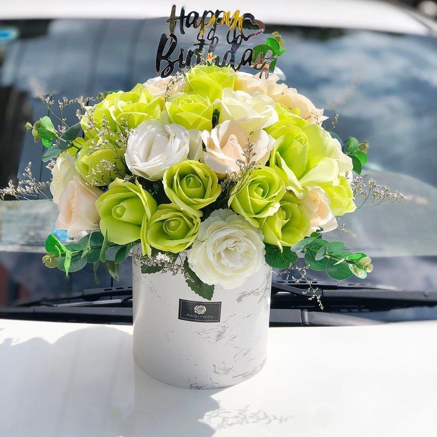 Hộp hoa hồng sáp thơm để bàn sắc xanh