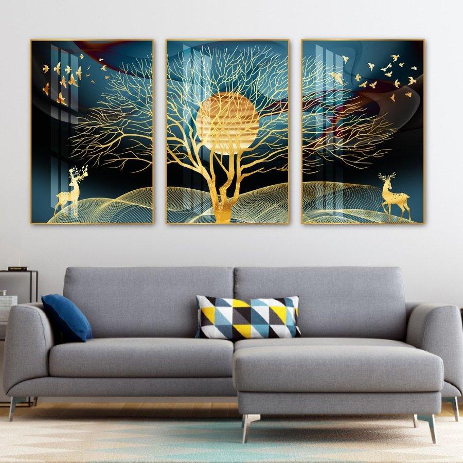 Tranh treo tường hươu vàng dưới ánh trăng (HG)
