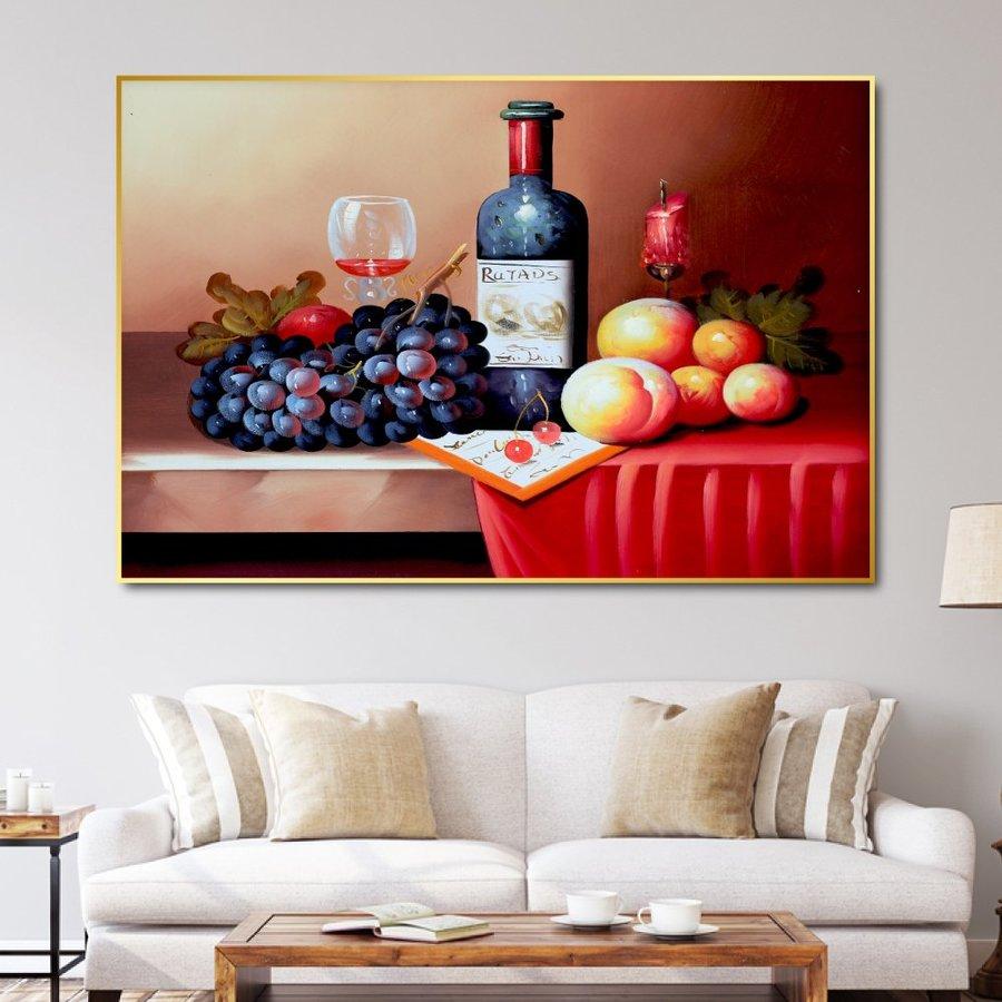 Tranh Treo Tường Rượu Và Trái Cây