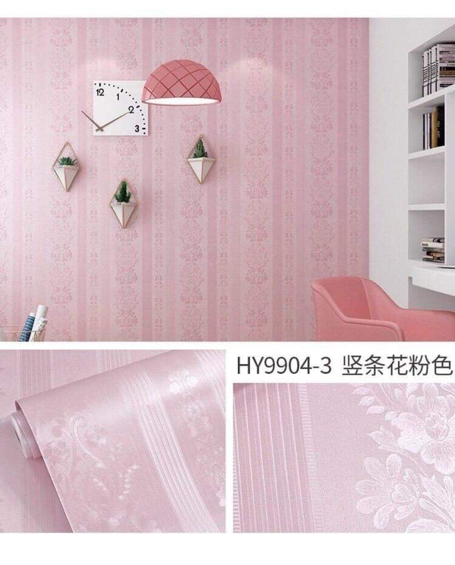 10m Giấy dán tường hoa văn màu hồng