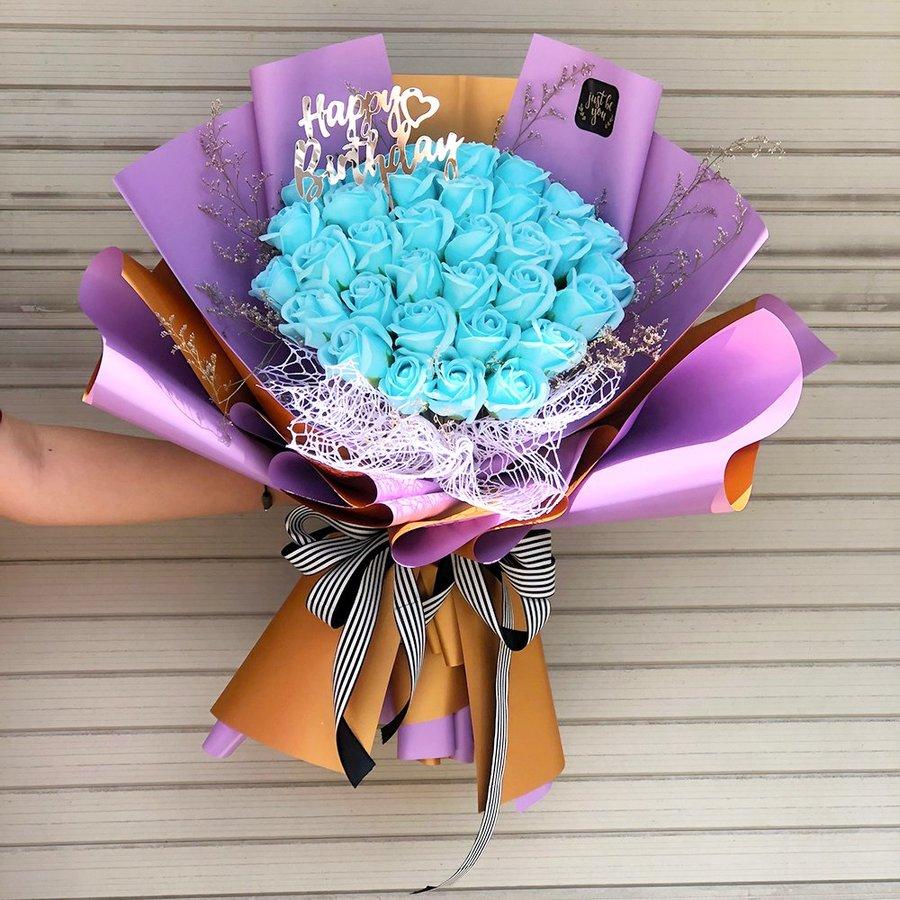 Bó hoa hồng sáp 20 bông - Lovely xanh dương