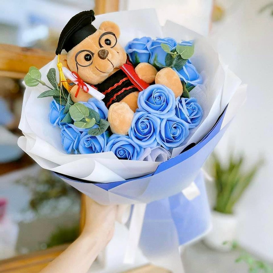 Bó hoa hồng sáp tốt nghiệp xanh dương