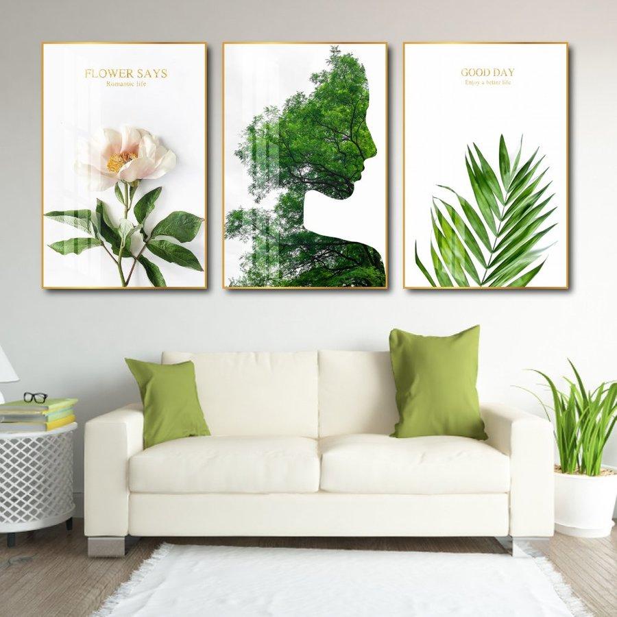 Tranh nghệ thuật trừu tượng cô gái và lá xanh 3