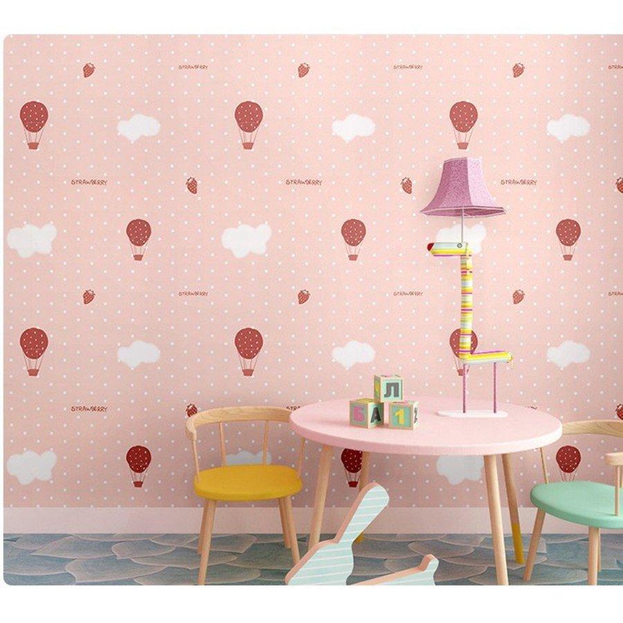 Giấy dán tường khinh khí cầu hồng