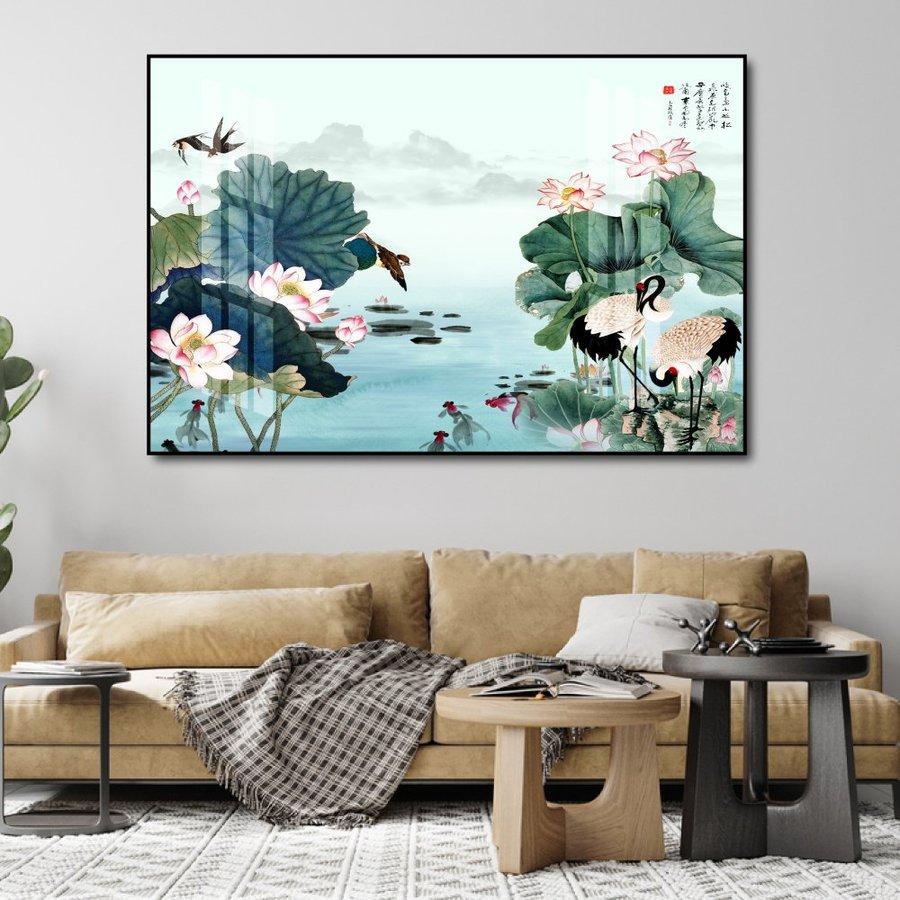 Tranh treo tường hồ sen hồng 2