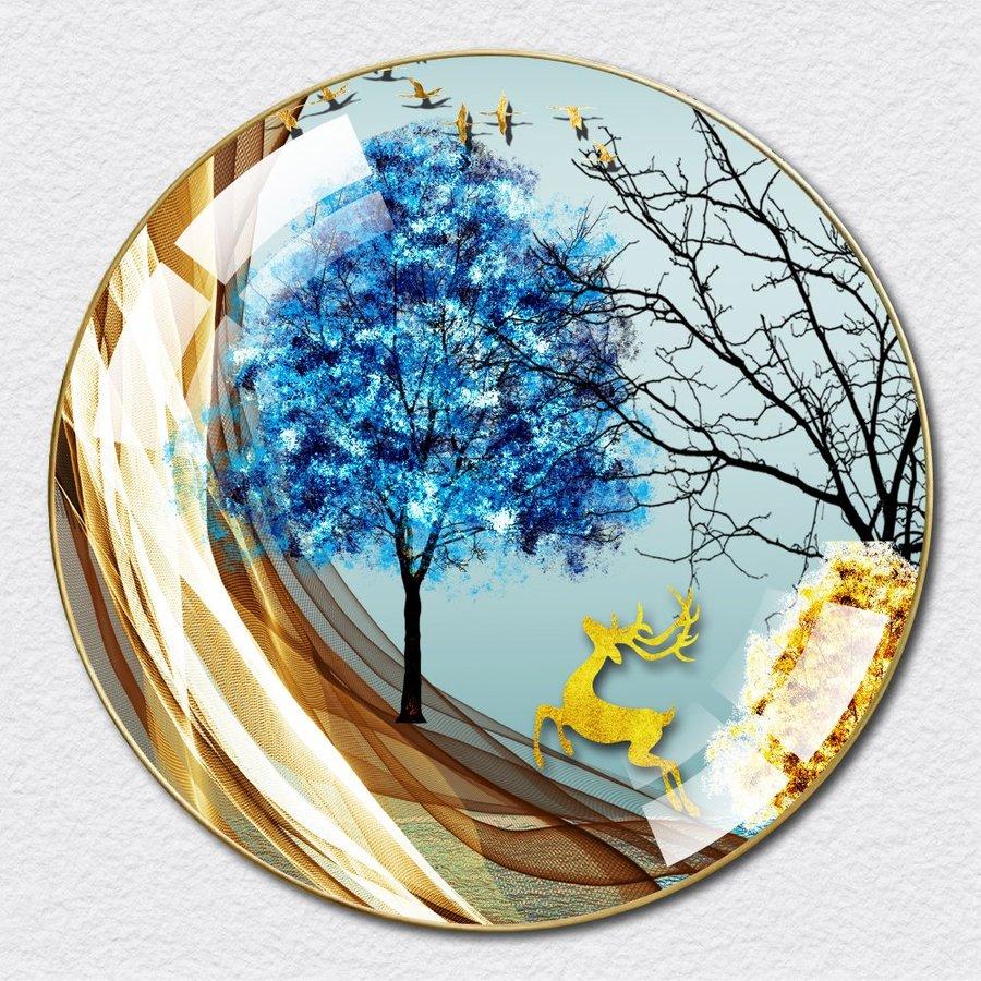 Tranh Tròn Tráng Gương Hươu Vàng Nghệ Thuật 12