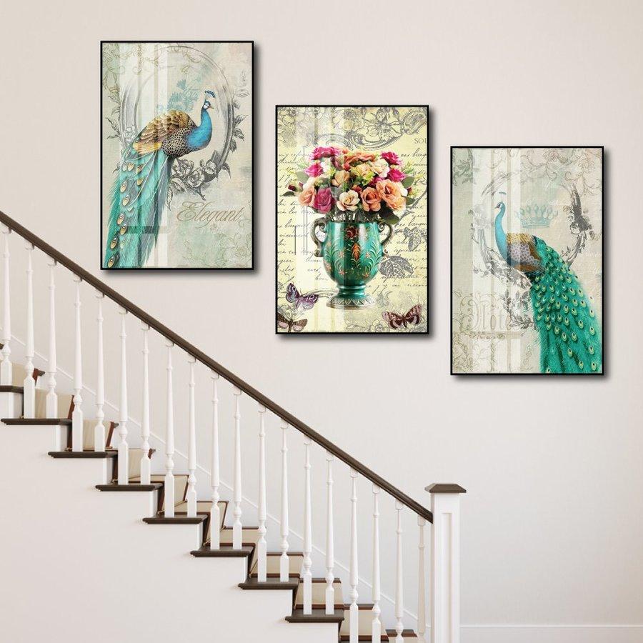 Tranh Treo Tường chim công và bình hoa sắc màu