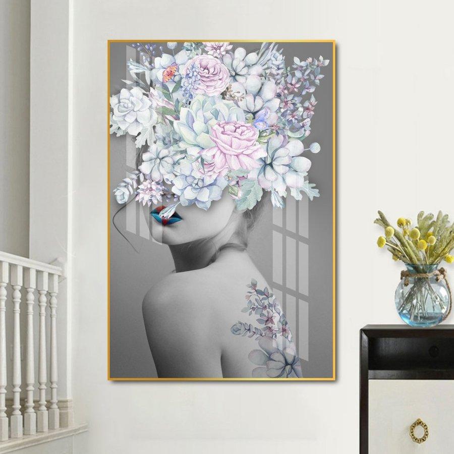 Tranh treo tường cô gái hoa nghệ thuật đương đại