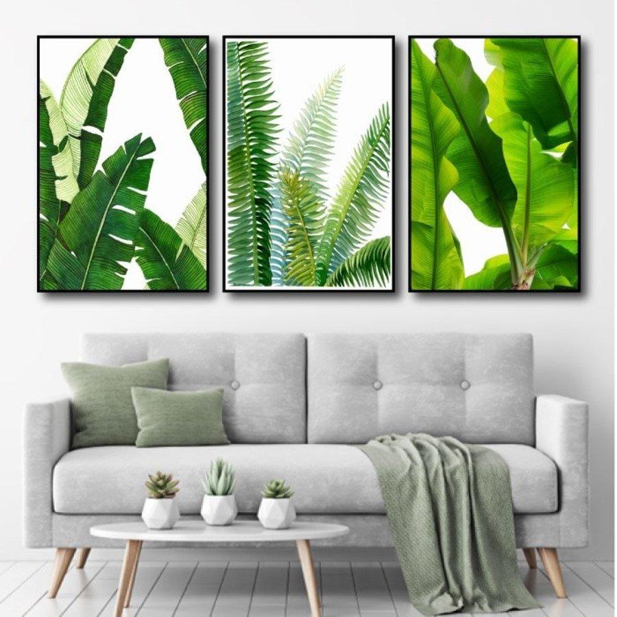 Bộ 3 tranh treo tường lá xanh 22-sale