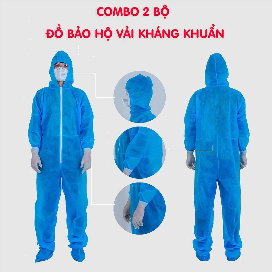 Combo 2 bộ đồ bảo hộ vải không dệt kháng khuẩn màu xanh (4 món)